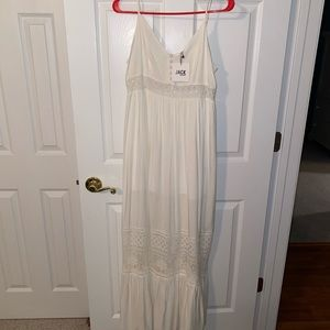White maxi dress from hazel boutique